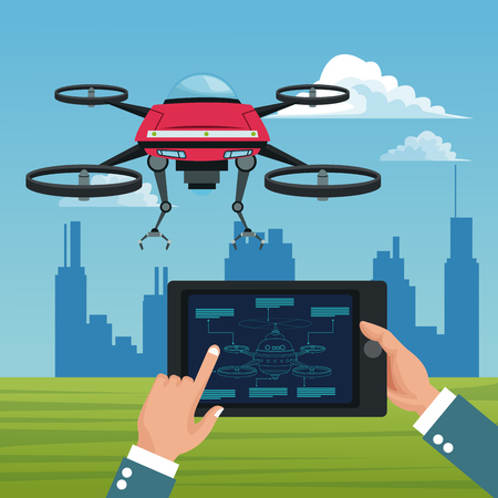 Sky landscape with buildings scene and people handle remote control in tablet with red robot drone with metal arms and four airscrew vector illustration