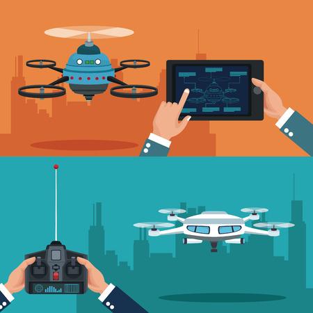 color set banner of scene city landscape set remote control and tablet white modern robot drone vector illustration