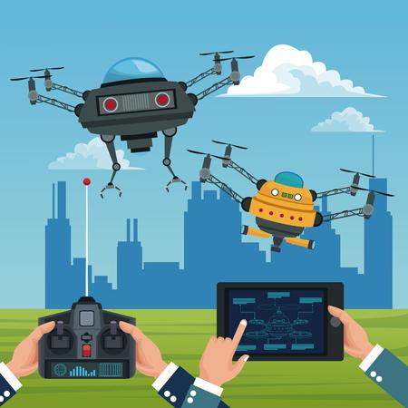 background color city landscape set banner of remote control and tablet modern robot drones vector illustration