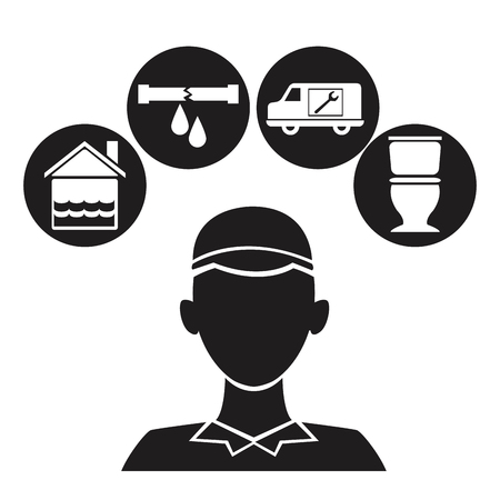 black silhouette plumber with set icons plumbing vector illustration Illustration
