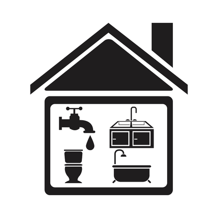black silhouette house with elements bathroom for plumbing vector illustration
