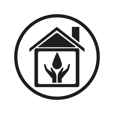 sewer: black silhouette circular frame house with hands holding a drop vector illustration
