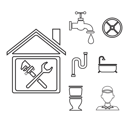 boiler: sketch contour house with wrench cross inside and icons plumbing outside vector illustration