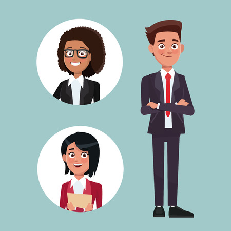 color background with executive man with formal suit and circular frame with woman characters for business vector illustration