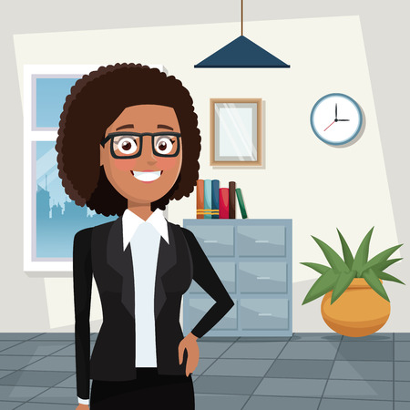 color background workplace office half body elegant executive brunette curly woman with glasses vector illustration Vectores