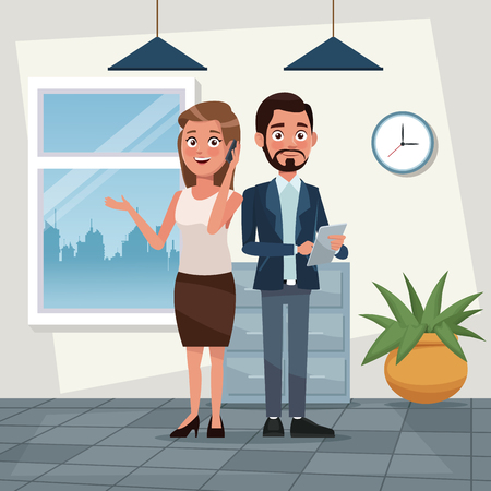 color background workplace office full body set pair executives of woman and bearded man with tablet vector illustration
