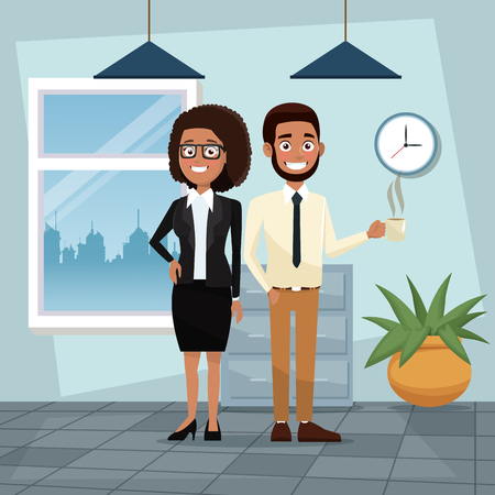 color background workplace office full body set pair of woman curly hair and bearded man characters for business vector illustration