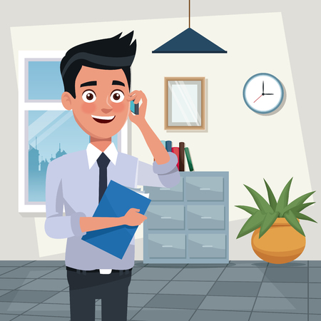 color background workplace office half body young man characters for business with folder and talk with cellphone vector illustration Illustration