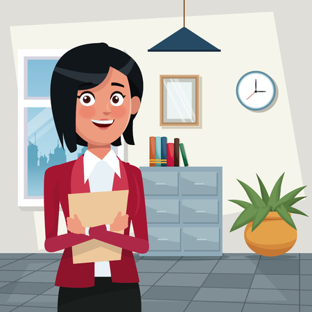 color background workplace office half body elegant executive woman short hairstyle with folder vector illustration