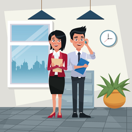 color background workplace office full body set pair of elegant executives woman short hairstyle and man with folder vector illustration
