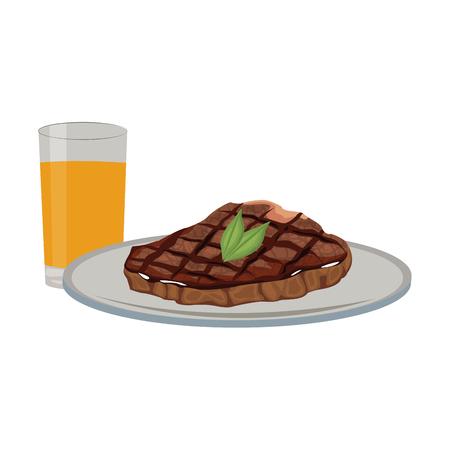 delicious steak beef orange juice food vector illustration