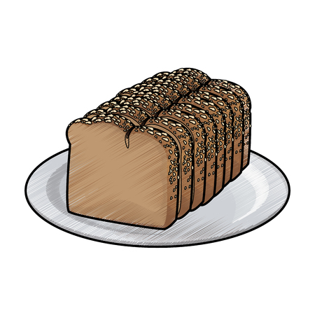 Slice loaf of freshly baked bread wheat whole on plate vector illustration Illustration