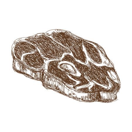 T-bone steak beef fillet fresh grilled engraved vector illustration