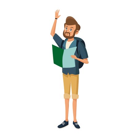 Young guy traveler with backpack tourism vector illustration 向量圖像