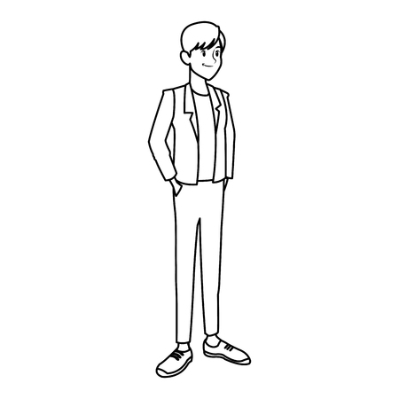 young man in casual clothes hands in pocket standing vector illustration