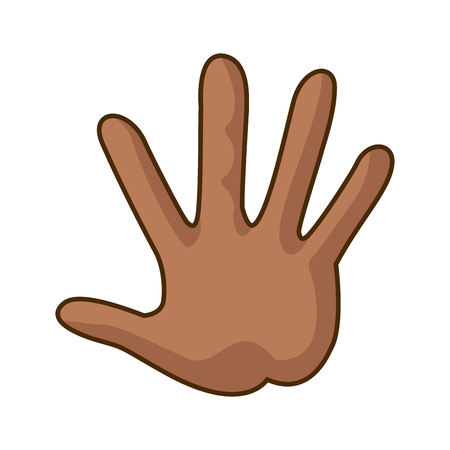 hi five: Cartoon hand showing the five fingers vector illustration.