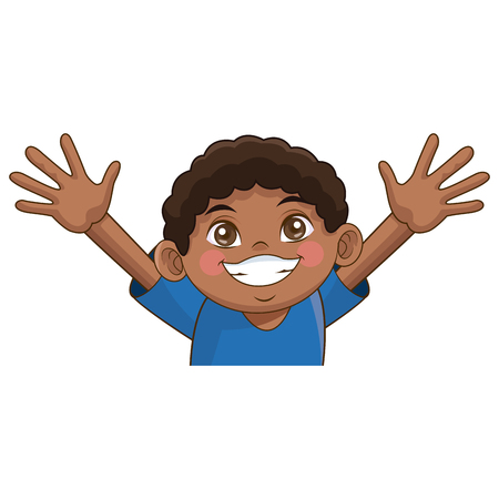 cartoon cute african boy cheerful image vector illustration