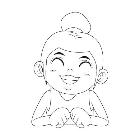 schattig meisje met haar haren vastgebonden in een broodje cartoon vectorillustratie Stock Illustratie