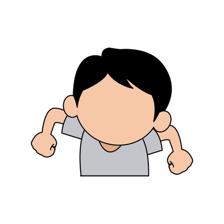 emotion expression: cartoon boy emotion expression friendly fun vector illustration