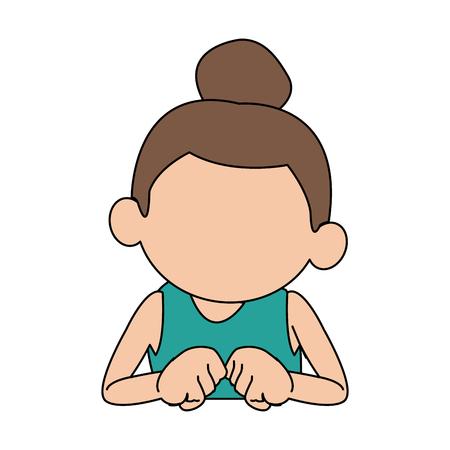 schattig meisje met haar haar vastgebonden in een bun cartoon vector illustratie