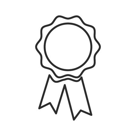 blank award rosette with ribbon vector illustration Illustration