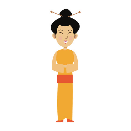 young asian girl: character woman cartoon japanese oriental clothing vector illustration Illustration