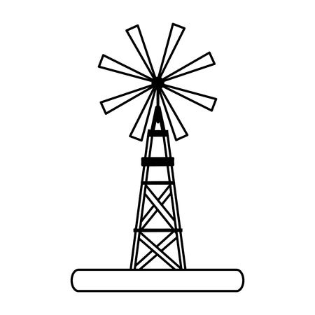 windmill rural icon image vector illustration design  black line