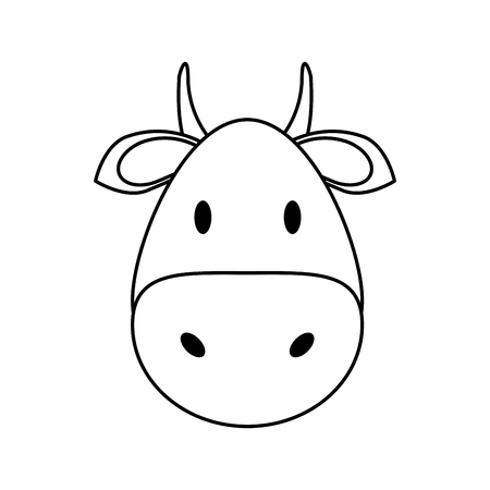 simple life: face of cow or bull icon image vector illustration design  black line