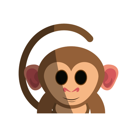 happy cute expressive monkey cartoon  icon image vector illustration design Illustration