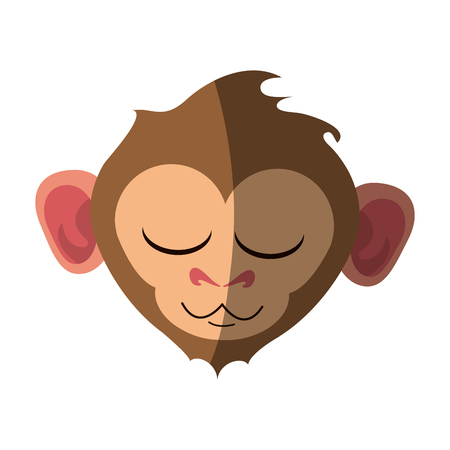 relaxed or in bliss cute expressive monkey cartoon  icon image vector illustration design