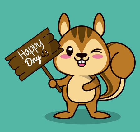 ardilla: color background with cute   animal chipmunk standing with wooden sign happy day vector illustration