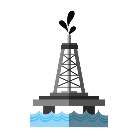 oceanic extraction platform oil industry related  icon image vector illustration design Illustration