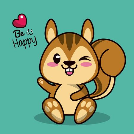 Fondo de color con ardilla animal lindo con la ilustración de vector de ojo de guiño Foto de archivo - 79654693