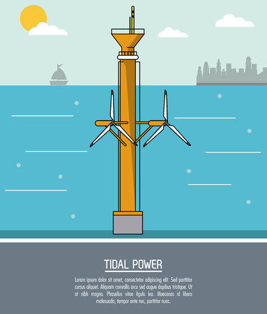 color sea landscape background tidal power plant with turbines vector illustration
