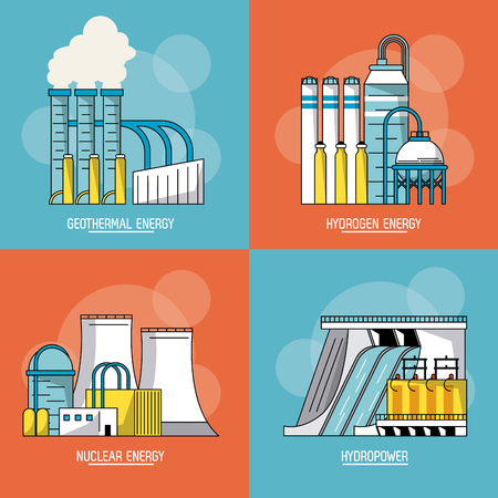 multicolored sections background with type of renewable energy vector illustration Vettoriali