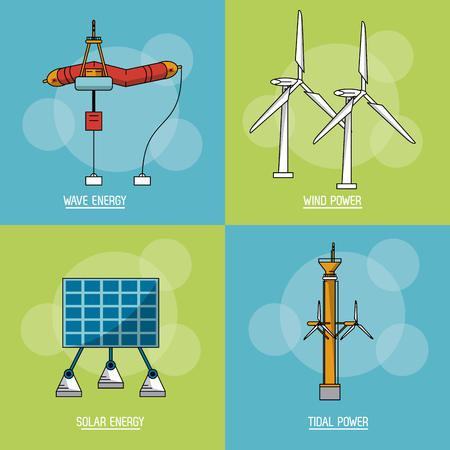 multicolored square background with type of renewable energy vector illustration Illustration