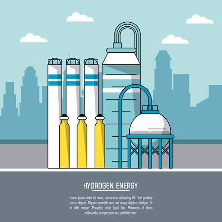 Farbe Stadtlandschaft Hintergrund Wasserstoff Energie Produktionsanlage Vektor-Illustration Vektorgrafik