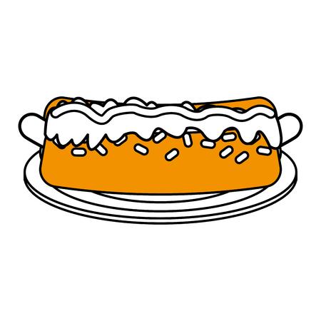 Hot dog flat line design over white background. Vector illustration. Illustration