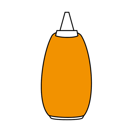 Flat line mustard sauce over white background. Vector illustration. Illustration