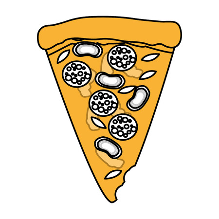 Flat line pizza over white background. Vector illustration. Illustration