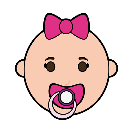 Female baby with pacifier icon image vector illustration design.