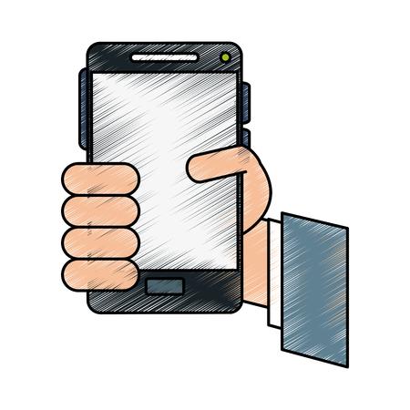 smartphone apps: hand cellphone illustration vector icon design graphic sketch