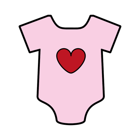 feminine onesie with heart baby or shower related  icon image vector illustration design Illustration
