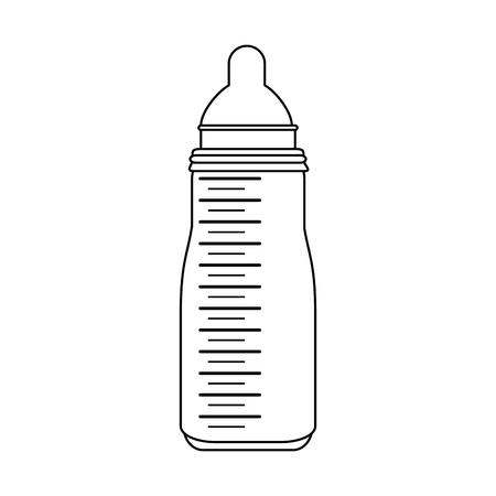 milk formula bottle baby or shower related  icon image vector illustration design  black line Illustration