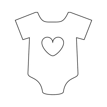 심장이있는 여성 onesie 아기 또는 샤워 관련 아이콘 이미지 벡터 일러스트 디자인 검은 라인