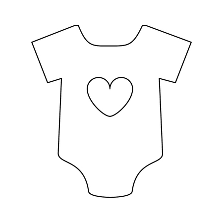 feminine onesie with heart baby or shower related icon image vector illustration design black line