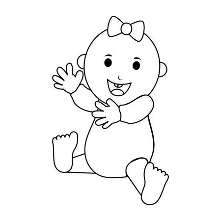 happy smiling female baby icon image vector illustration design  black line Illustration