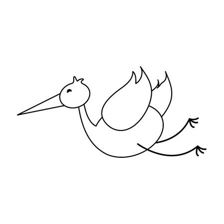 simple life: crane or stork icon image vector illustration design  black line