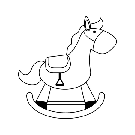 wood rocking horse baby or shower related  icon image vector illustration design  black line