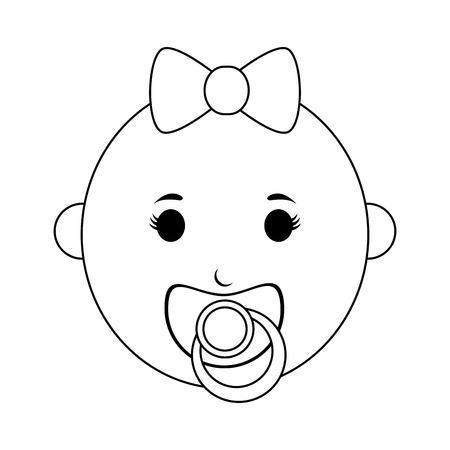 bebé femenino con chupete icono imagen vector ilustración diseño línea negra